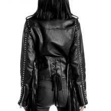 Women's New Native American Buckskin Leather Fringes Biker Hippy Jacket / Coat CG26