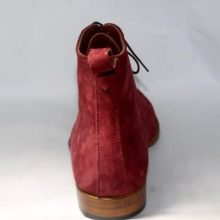 New Handmade Men's Burgundy Color Suede Two Tone High Ankle Lace Up Suede Boots