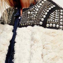 High Fashion Rivet Faux Fur Jacket