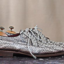 NEW HANDMADE PYTHON GENUINE NATURAL LEATHER GREY CLASSIC LACE-UP MENS SHOES