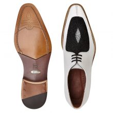 New Handmade Men White / Black Genuine Stingray / Italian Calf Split Moc-Toe Shoes