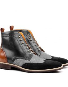 Handmade Latest Multi Shade Wing Tip Leather Boots, Men fashion boots