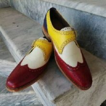 Multi Color Monk Shoes Premium Quality Leather Full Brogue Single Buckle Strap