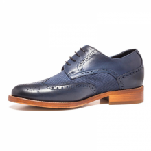 Men's New Handmade Navy Blue Calf-Skin/ Suede Shoes