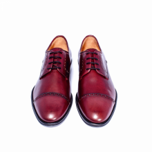 Men's New Handmade Cap Toe Brogues Burgundy Shoes