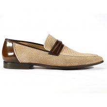 Men's Shoes Camel Calf-Skin Leather Double Monk-Straps Loafers Shoes
