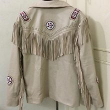 Men's New Native American Beige Cow Leather Beads Fringes Jacket