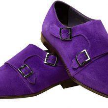 Men's Handmade Purple Suede Leather Double Monk Strap Shoes