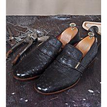 New Handmade Moccasin in Dark Brown Genuine Ostrich Leather