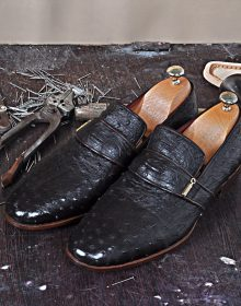 New Handmade Moccasin in Dark Brown Genuine Ostrich Leather