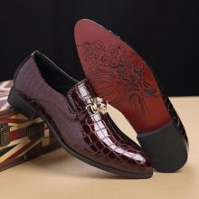New Handmade Men Crocodile Texture Slip-On Red Oxfords Shoes