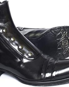 New Handmade Men Italian Black Ankle Boots with Two Zippers and Buttons