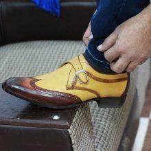 Handmade men's Tan Brown Wingtip Monk Leather Shoes, Men's Monk Dress Shoes