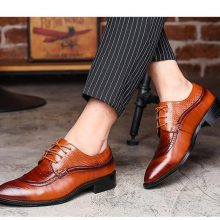New Handmade Men Dress Shoe Pointed Brown Oxfords Shoes Lace Up Formal Shoes