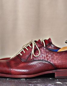 NEW HANDMADE CLASSIC BURGUNDY LACE-UPS CALFSKIN HANDMADE LUXURY MENS SHOE