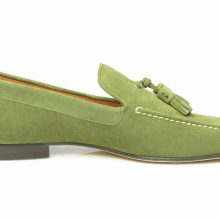 Men Green Tassel Loafer Slip Ons Matching Sole Real Suede Leather Handmade Shoes