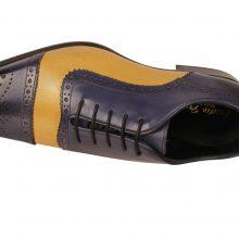 New Handmade Men French Blue Mustard Oxford Burnish Cap-Toe Shoes