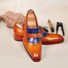 NEW HANDMADE MEN's LEATHER LUXURY HANDPOLISHED TAN & BLUE MENS LOAFERS SHOE