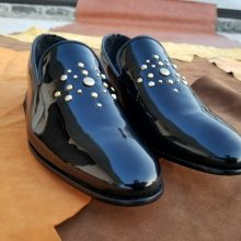 Handmade Men's Genuine Black Patent Leather Moccasins Tuxedo Party Shoes