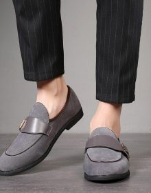 NEW HANDMADE MEN GREY SUEDE LOAFERS SHOES