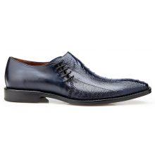 New Handmade Men Antique Navy Genuine Ostrich / Italian Calf Slip On Shoes