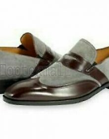 Handmade Men's Leather Two Tone Formal Grey Brown Formal Dress Casual Shoes