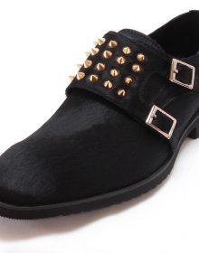 New Handmade Black Pony Hair Loafer Shoes With Gold Studs And Silver Buckles