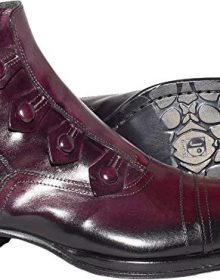 New Handmade Men Bordo Ankle Boots with Decorative Buttons and side zipper