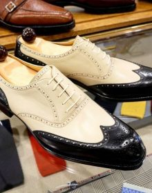 Men's Handmade Beige & Black Wing Tip Brogue Leather Formal Dress Fashion Shoes