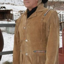 Men's New Native American Brown Buckskin Suede Leather Fringes Jacket / Shirt