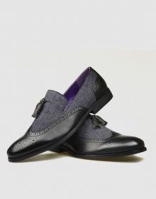 New Men's leather and febric Shoes - black Handmade spectator shoes