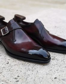 Men's Handmade Burgundy Monk Leather Burnished Toe Shoes, Men Dress Buckle Shoes