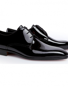 Men's New Handmade Black Patent Leather Shoes