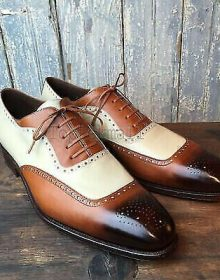 Handmade Men's Leather Oxfords Two Tone Burnished Brogue Toe Party shoes