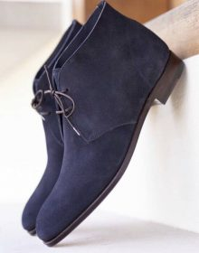 Men Handmade Blue Suede Leather Chukka Boots, Men chukka Boot