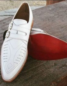 Men Handmade white western shoes, men cowboy style shoes, men monk leather shoes