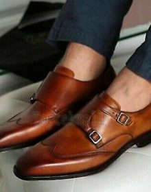 Handmade Men's Leather Genuine Tan Double Monk Oxford Wingtip Shoes