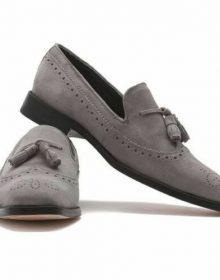 Men's Handmade Original Grey Suede Leather Moccasins, Men Tassel Slip On Shoes