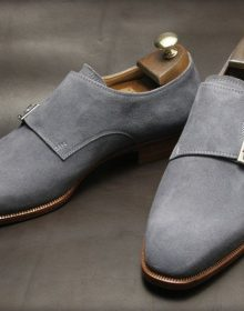 Men's Handmade Double Monk Gray Casual Suede Leather Office shoes