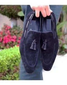 Navy Blue Suede Handmade Party Wear Customized Rounded Apron Toe Tassel Shoes