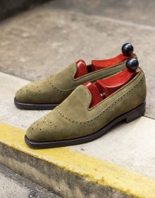 Men's Handmade Pure Olive Suede Leather Stylish Loafer Moccasin Shoes