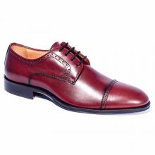 Men's New Handmade Cap Toe Brogues Burgundy Shoes