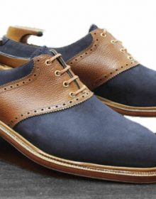 Men's Handmade Leather & Suede Oxford Blue & Brown Shoes,Men Dress Fashion Shoes