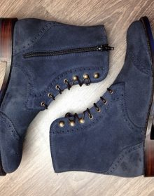 New Handmade Navy Blue Lace Up Wing Tip Brogue Zipper Leather High Ankle Boots
