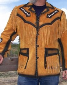 Men's New Native American Tan Golden Buckskin Buffalo Suede Leather Fringes Beads Jacket