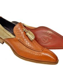 Men's Handmade Cognac / Beige Python Embossed Italian Calfskin Tasseled Loafers