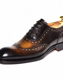 Men's New Handmade Wingtip Oxfords Cognac Shoes