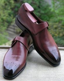 Stylish Men's Handmade Burgundy ColorLeather Monk Strap Formal Dress Shoes