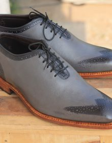 Stylish Men's Handmade Gray whole Cut Leather Formal Dress Lace Up Shoes