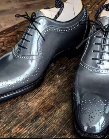 Handmade Men American Luxury Brogues Toe Gray Leather Shoes, leather shoes